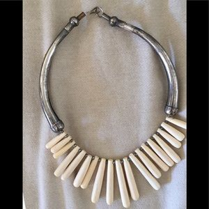 Sterling Silver Ivory Bar Bib Necklace